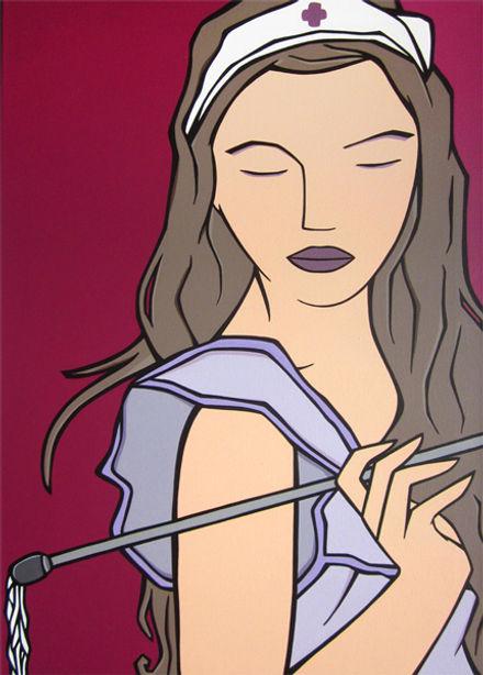 MG / Michel Gagnol - popart - strasbourg - erotic art - artiste peintre - french artist - portrait - femme - tableau - infirmière