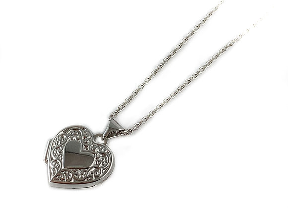 small silver heart locket & chain