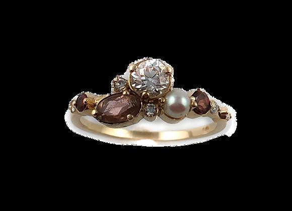 Custom designed old mine cut diamond with ring