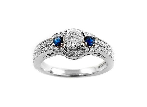 14k 0.41ct diamond and sapphire ring