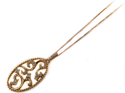 14k rose gold 0.32ctw diamond pendant