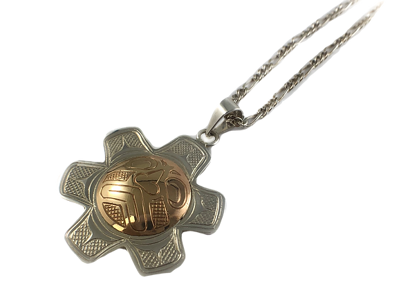 justin rivard sterling silver and 10k gold pendant