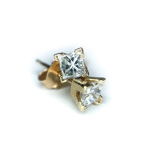 14k .30ctw princess cut diamond earrings