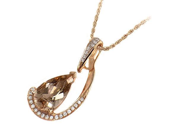 14k 2.65ct morganite and diamond pendant