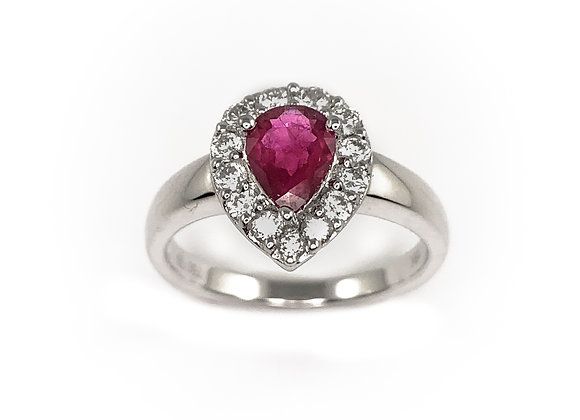 18k 0.62ct ruby & 0.36ct diamond ring