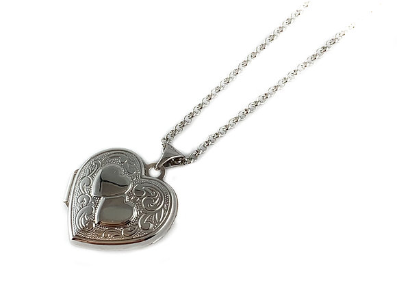 large silver heart locket & chain