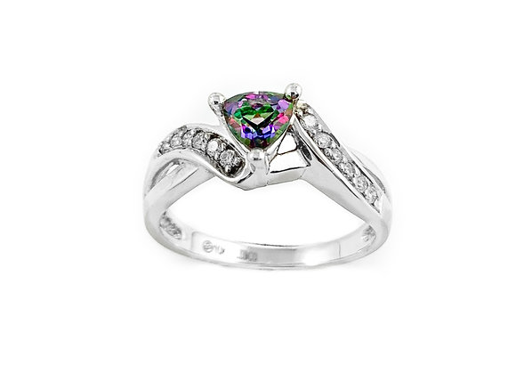 10k mystic topaz and diamond ring