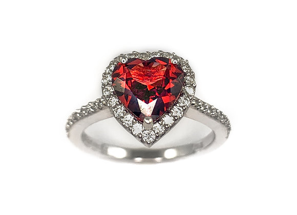 14k garnet and 0.30ctw diamond ring
