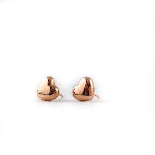 14k rose gold heart earrings