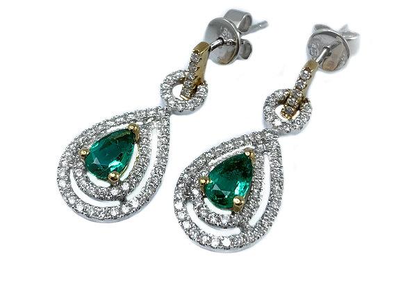 14k 0.82ctw emerald and 0.68ctw diamond earrings