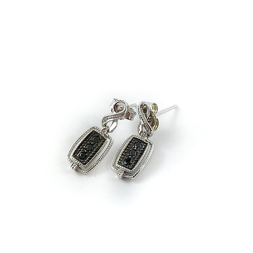 10k black diamond earrings