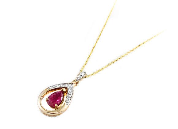 10k ruby and diamond pendant