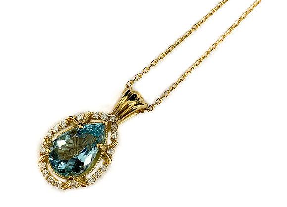 14k 2.3ct aquamarine pendant