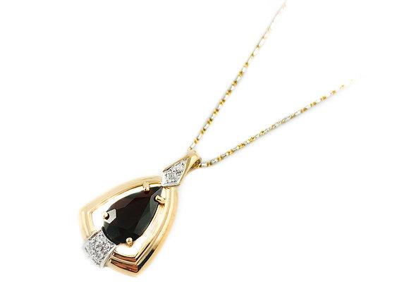 14k estate garnet and diamond pendant