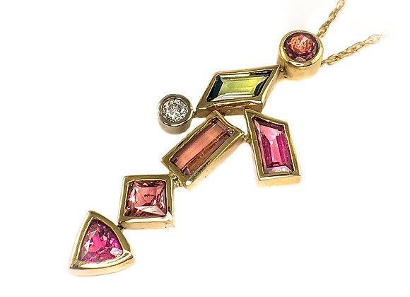 14k tourmaline and 0.25ct diamond pendant