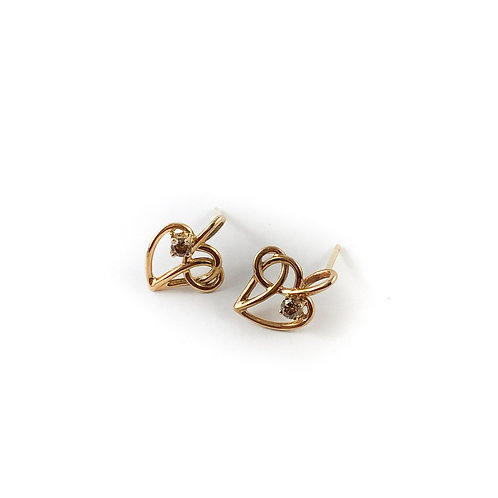 10k diamond heart earrings