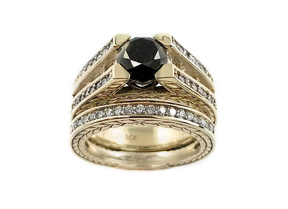 14k 1.64ct black diamond ring