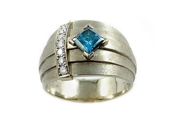 14k 1.12ct blue diamond ring