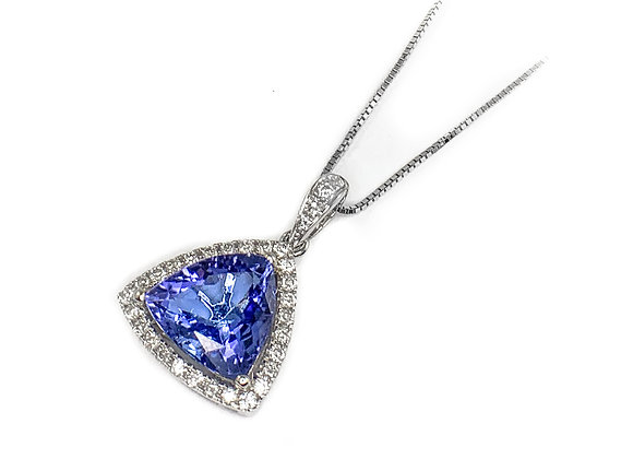 18k 2.49ct tanzanite and diamond pendant