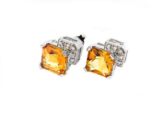 14k citrine and diamond estate earrings