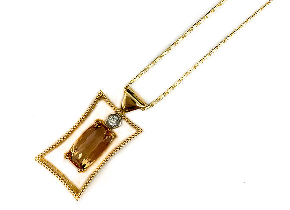 14k imprial topaz and diamond pendant