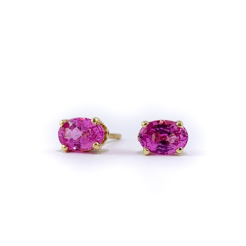 14k pink sapphire earrings