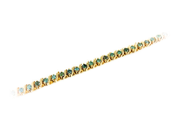 14k 2.5ct blue diamond estate bracelet
