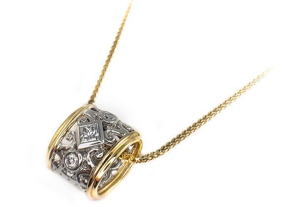 14k 0.12ct princess cut diamond Max Strauss pendant
