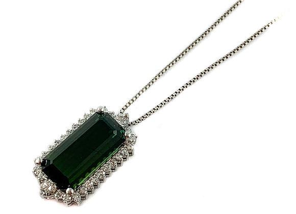 14k 7.60 green tourmaline pendant