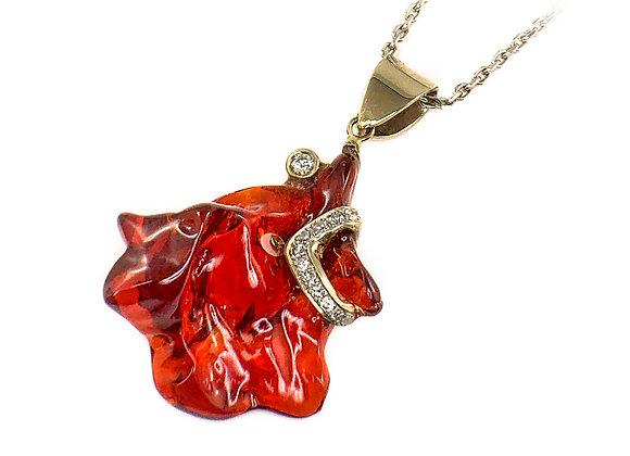 14k mexican fire opal & diamond pendant