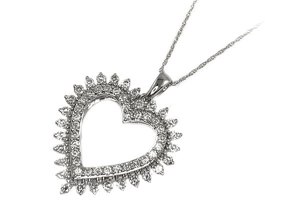 10k 1.00ctw diamond heart pendant