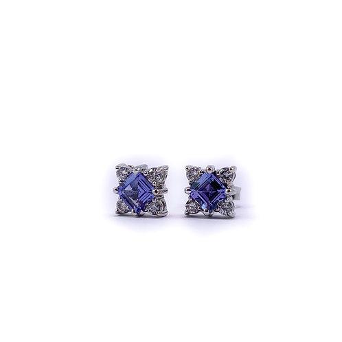 14k tanzanite and diamond earrings