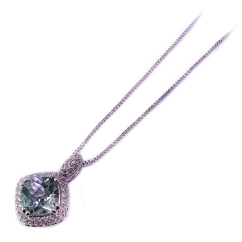 14k green quartz and diamond pendant