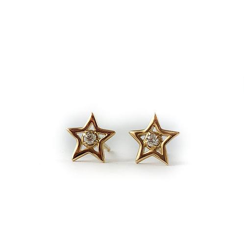 14k diamond star earrings