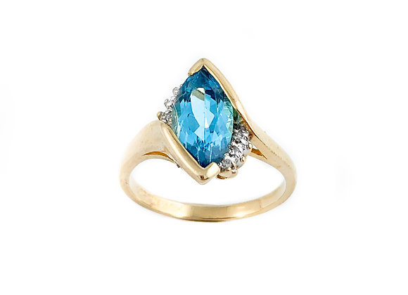 10k blue topaz estate ring