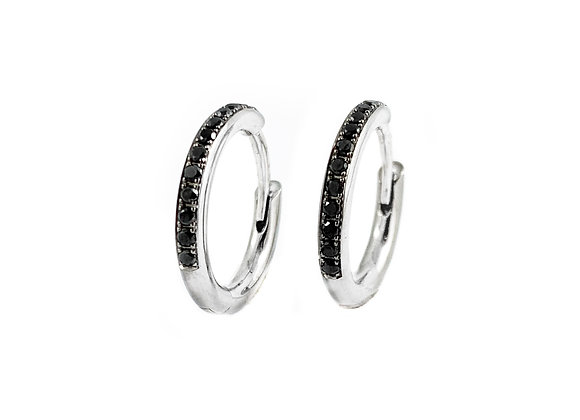 14k 0.15ctw black diamond hoops