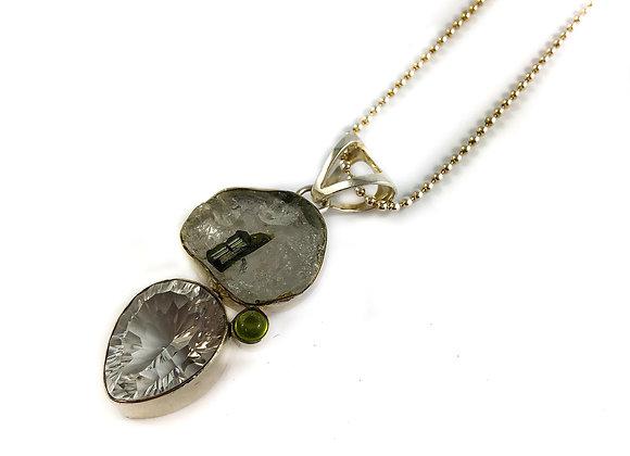 sterling silver quartz and tourmaline pendant