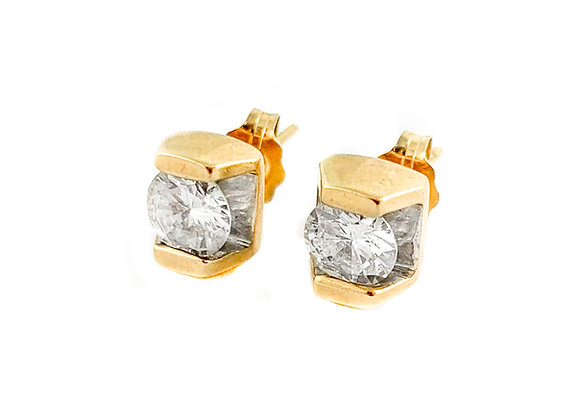 14k 1.00ctw diamond stud earrings