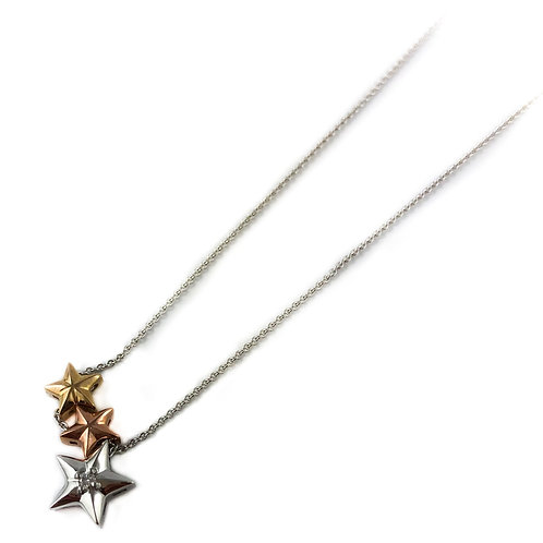10k tri-tone star pendant with Canadian diamonds