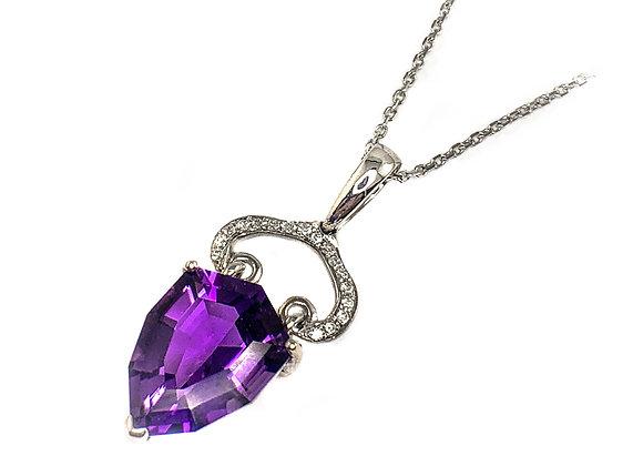 14k 4.80ct amethyst and 0.10ctw diamond pendant