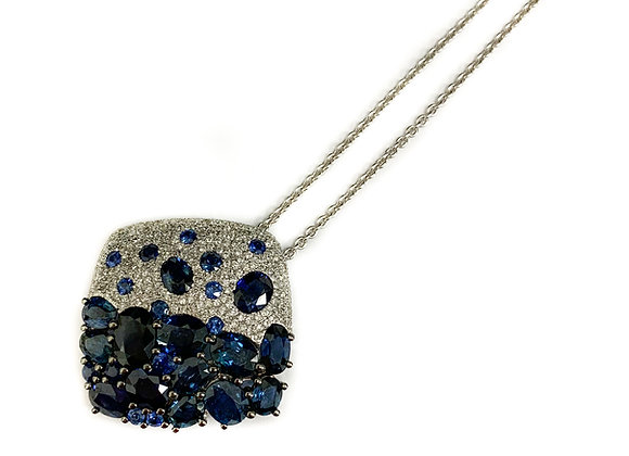 14k 5.11ct sapphire and .43ctw diamond pendant