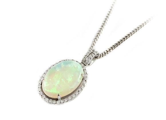 14k opal and 0.38ctw diamond pendant