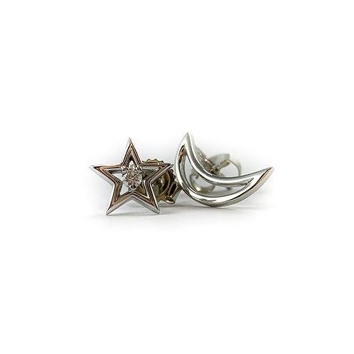 10k Canadian diamond moon and star earrings