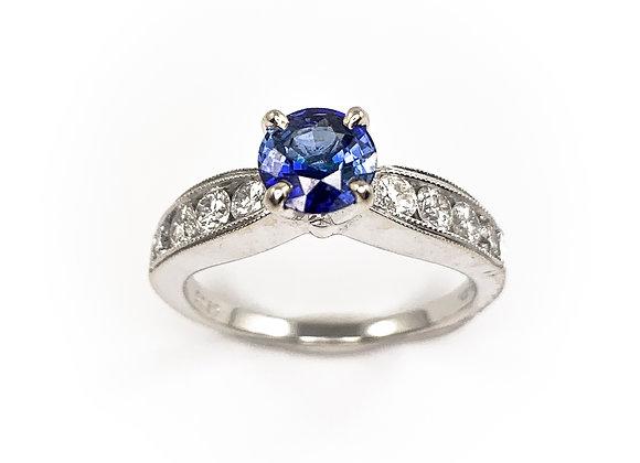 14k 0.77ct sapphire & 0.52ct diamond ring