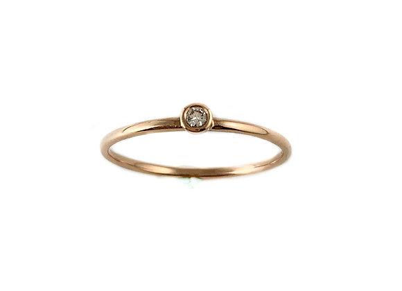 14k rose gold  .03ct diamond ring