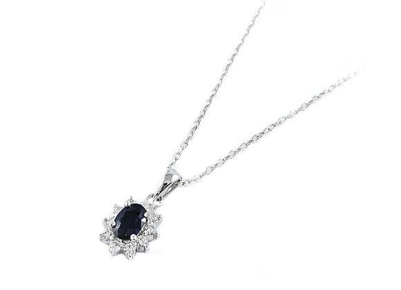 14k 0.66ct sapphire and 0.22ctw diamond pendant