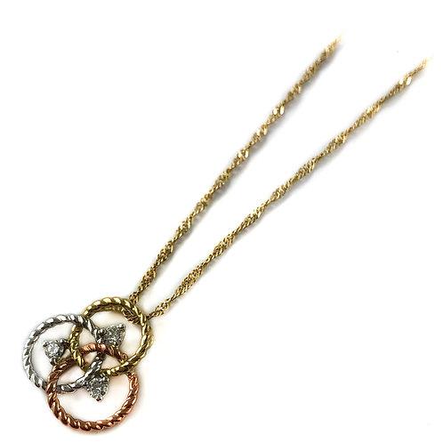 10k tri-tone 0.10ctw diamond pendant