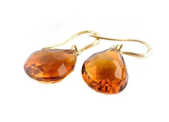 14k madeira citrine earrings