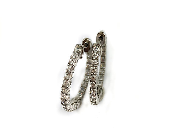 sterling silver with cubic zirconia hoops