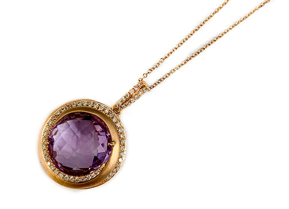 14k 8.04ct Amethyst and diamond pendant
